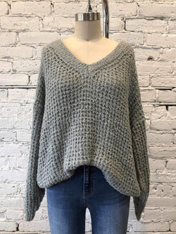 Sage Boucle-Knit V-Neck Sweater-Sweater-Yellow Umbrella