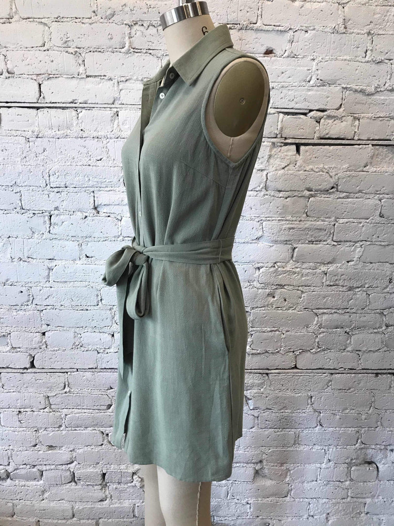 Sage Button-Up Tie Waist Dress-Dress-Yellow Umbrella