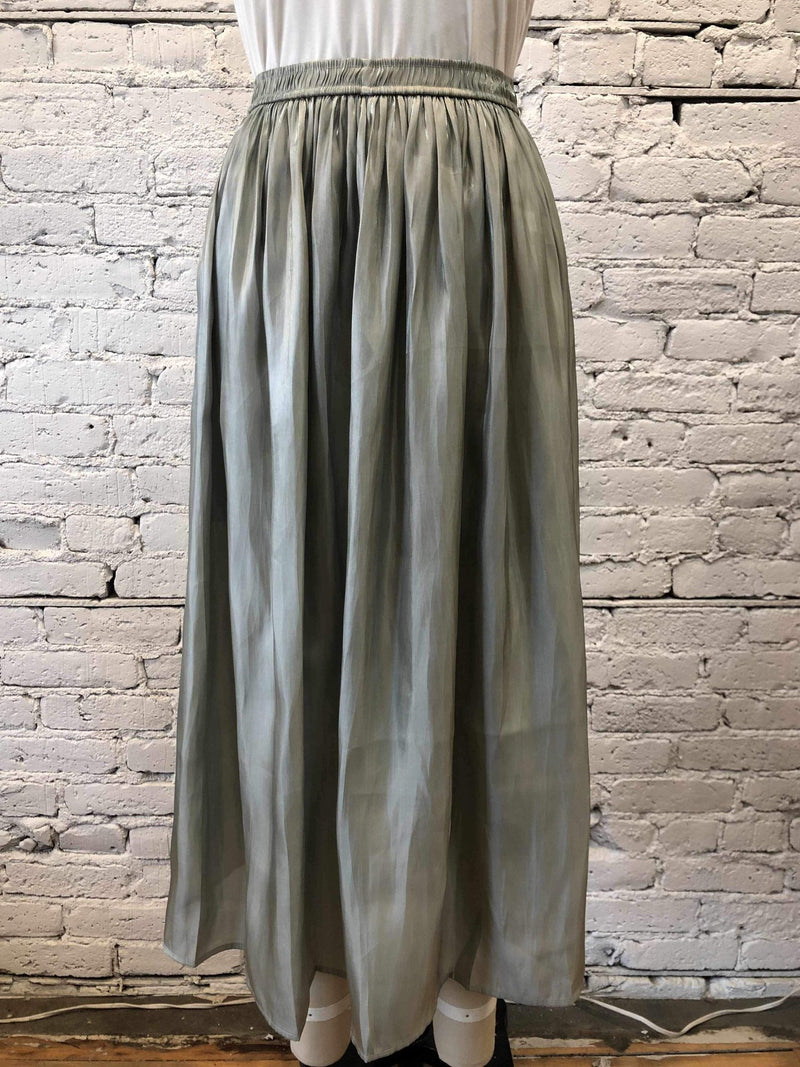 Sage Pleated Satin Midi Skirt-Skirt-Yellow Umbrella