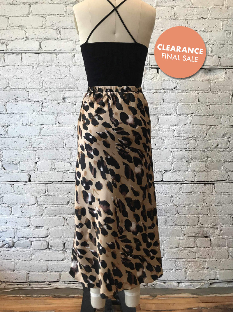 Satin Leopard Midi Skirt-Midi Skirt-Yellow Umbrella