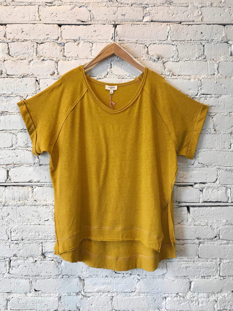 Short Rolled Sleeve Top - Goldenrod-Top-Yellow Umbrella