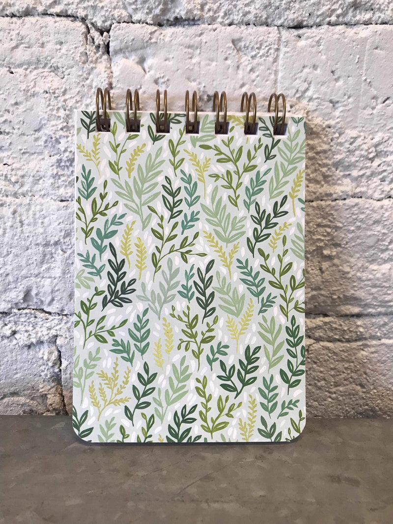 Small Mint Meadow Spiral Notebook-Stationary-Yellow Umbrella