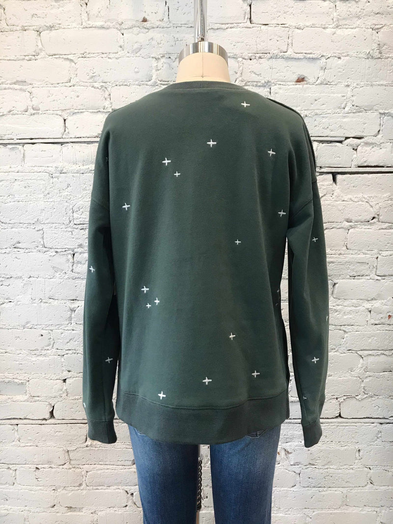 Starry Teal Crewneck-Crewneck-Yellow Umbrella