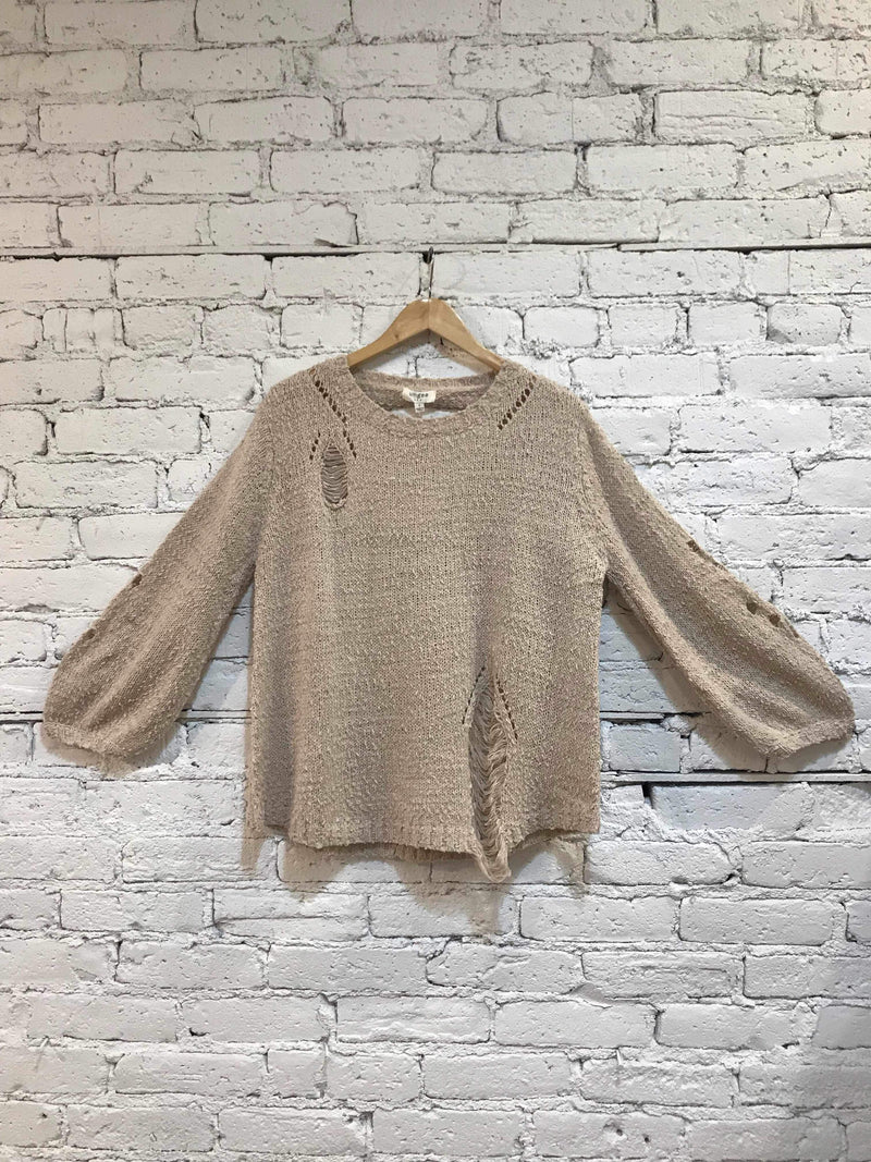 Stone Distressed Knit Sweater-Sweater-Yellow Umbrella