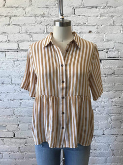 Striped Babydoll Button-Up-Babydoll Shirt-Yellow Umbrella