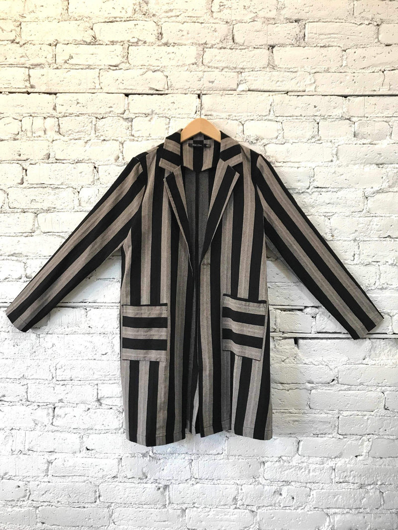 Striped Blazer Jacket - Black/Gray-jacket-Yellow Umbrella