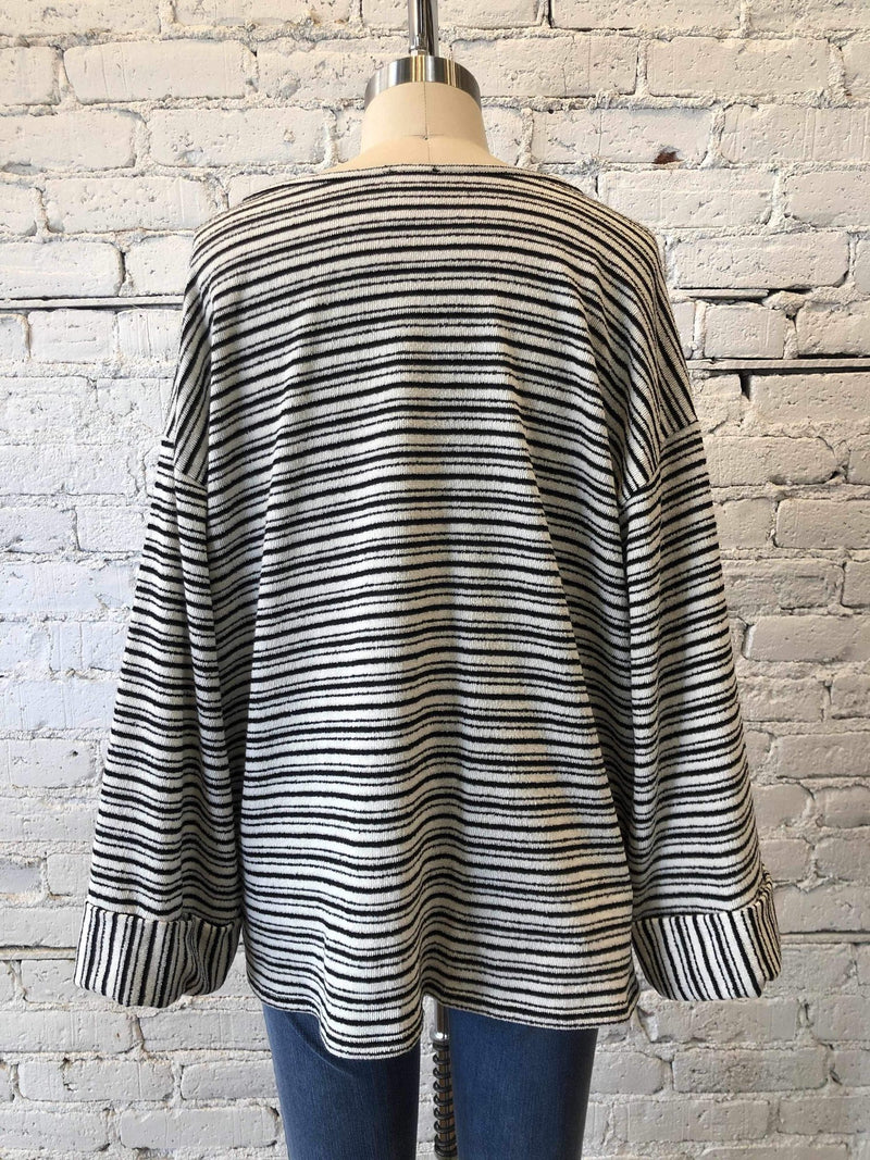 Striped Knit Jersey Top - Black/White-Top-Yellow Umbrella