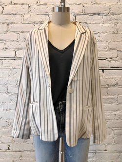 Striped One Button Blazer - Cream/Charcoal-Blazer-Yellow Umbrella