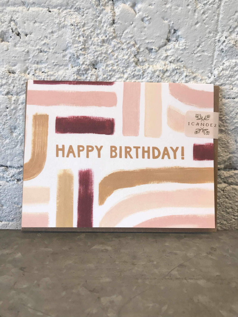 Sunset Stripe Birthday Card-Card-Yellow Umbrella