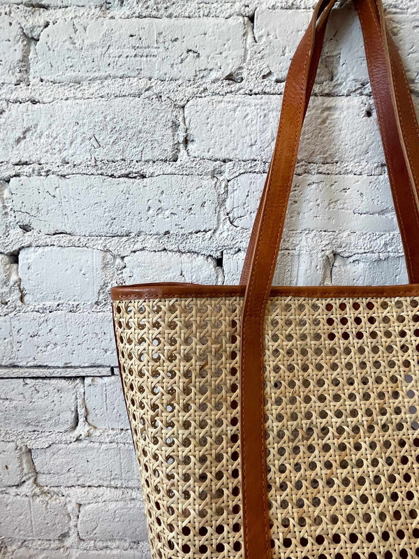 Tan Trim Woven Bali Tote-hand bag-Yellow Umbrella