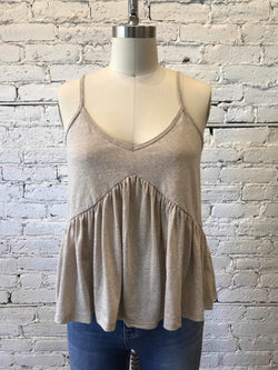 Taupe Knit Babydoll Tank-Tank Top-Yellow Umbrella