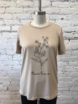 "Taupe ""True Love"" Graphic Tee-t-shirt-Yellow Umbrella"