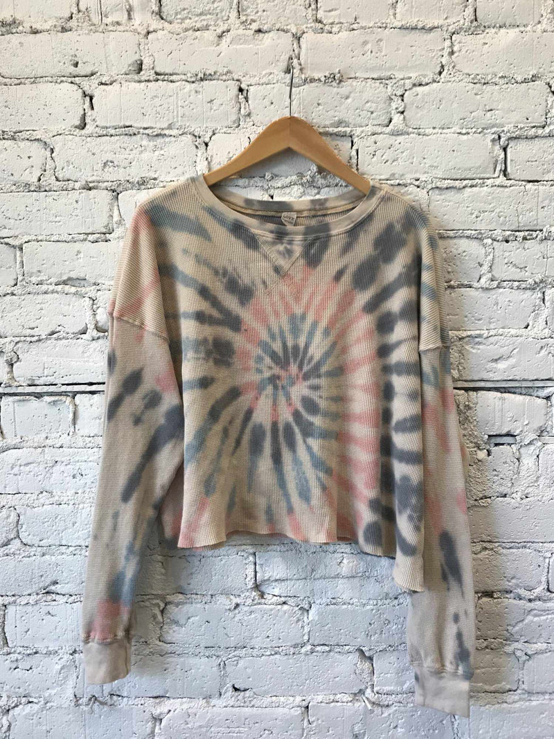 Tie-Dye Waffle Knit Crop Sweater-Sweater-Yellow Umbrella