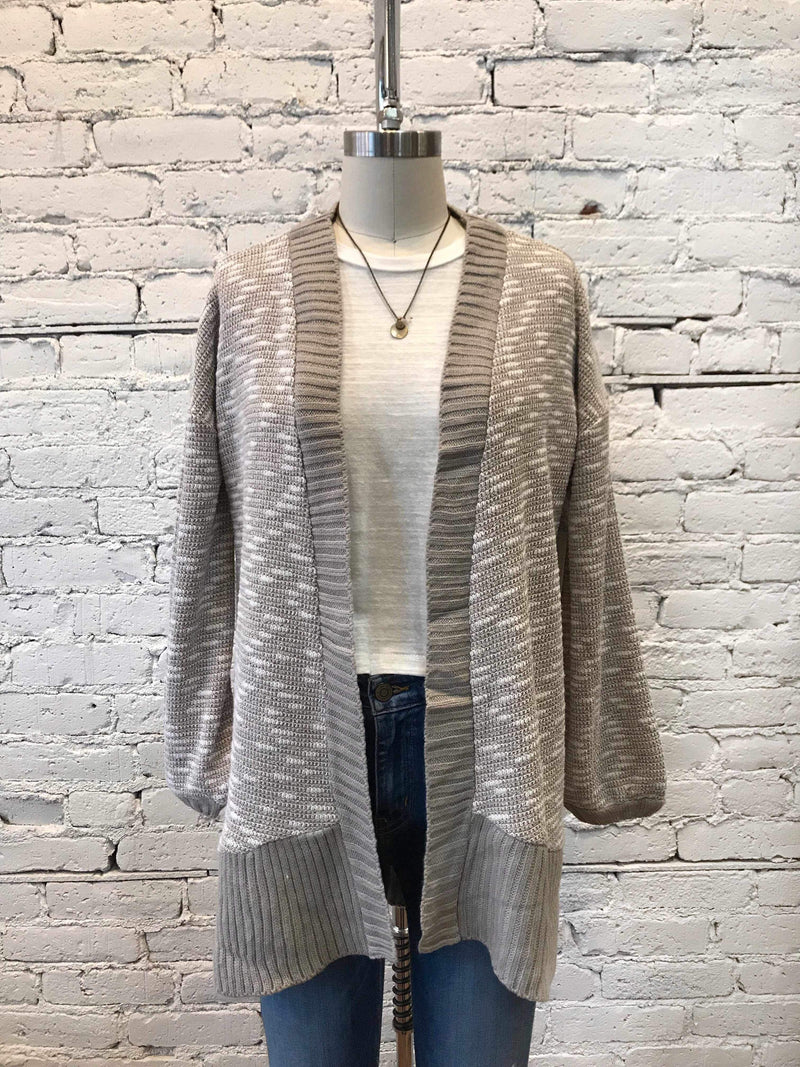 Two-Tone Open Cardigan - Stone-cardigan-Yellow Umbrella