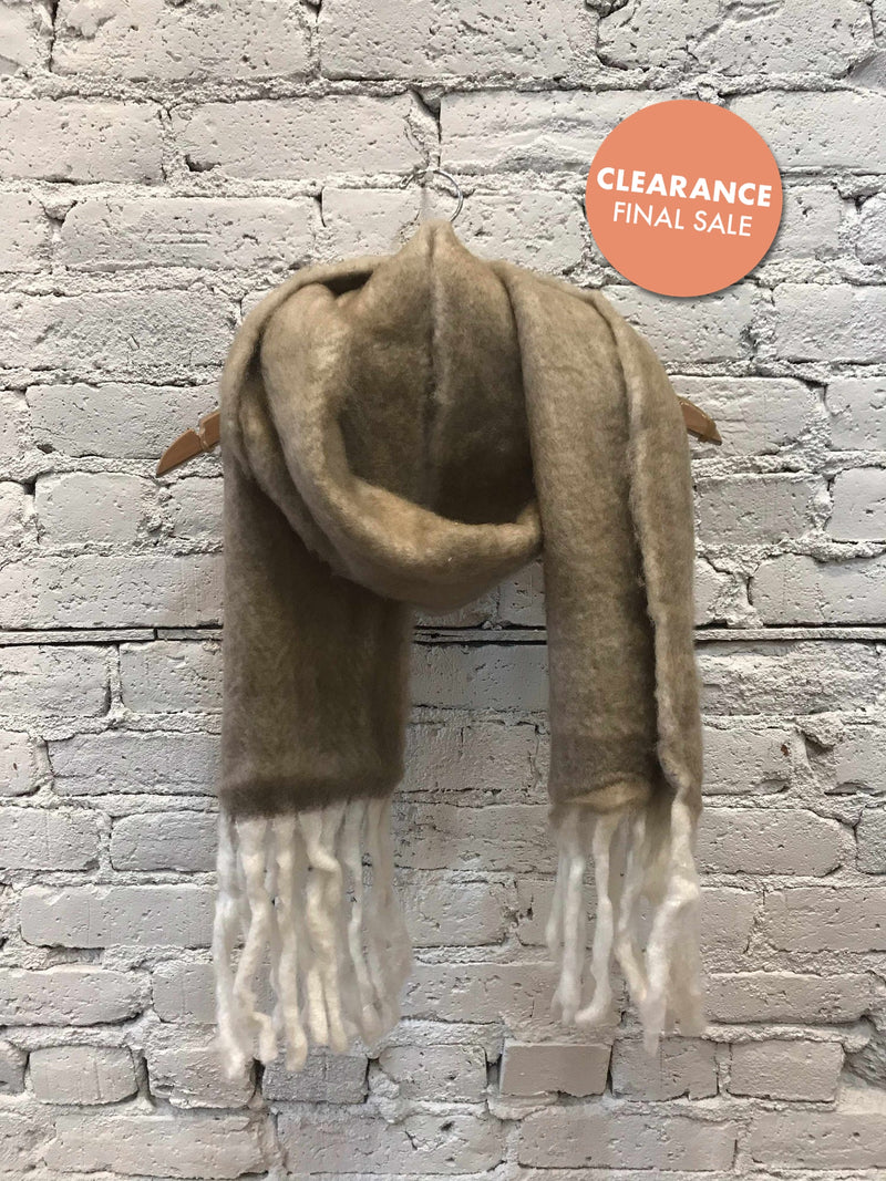 Ultra-Soft Taupe Scarf With Fringe-Winter Knits-Yellow Umbrella