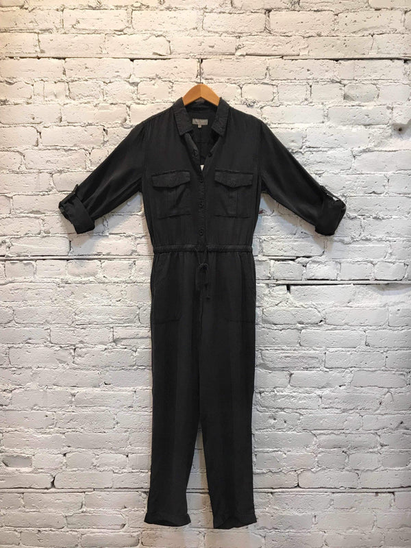 Vintage Black Boiler Jumpsuit-Jumpsuit-Yellow Umbrella