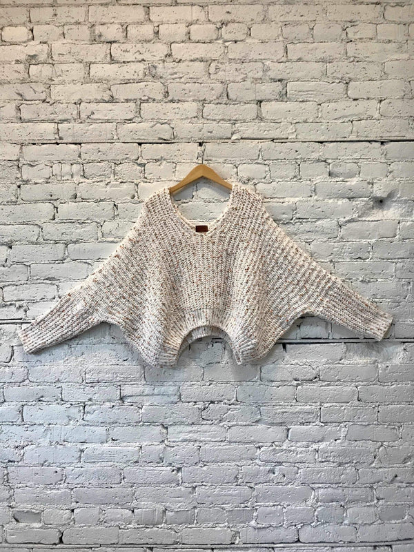 White Confetti Crop Sweater-Sweater-Yellow Umbrella
