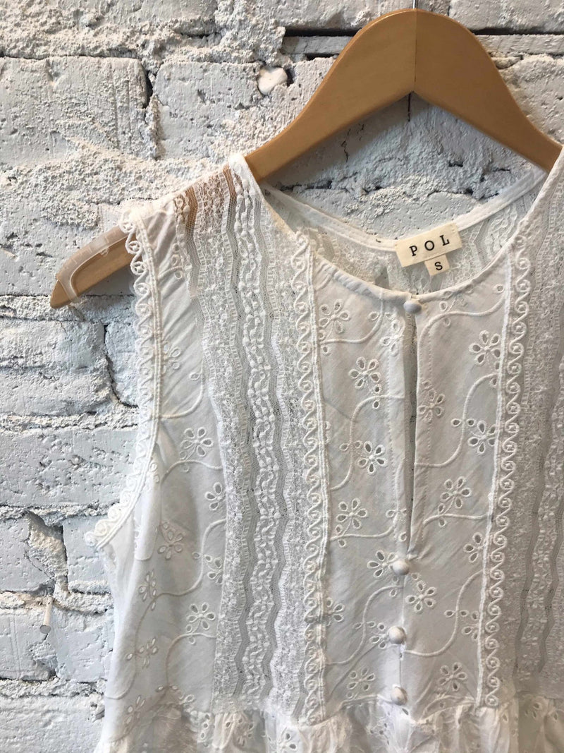 White Eyelet Embroidered Tunic-Tunic-Yellow Umbrella