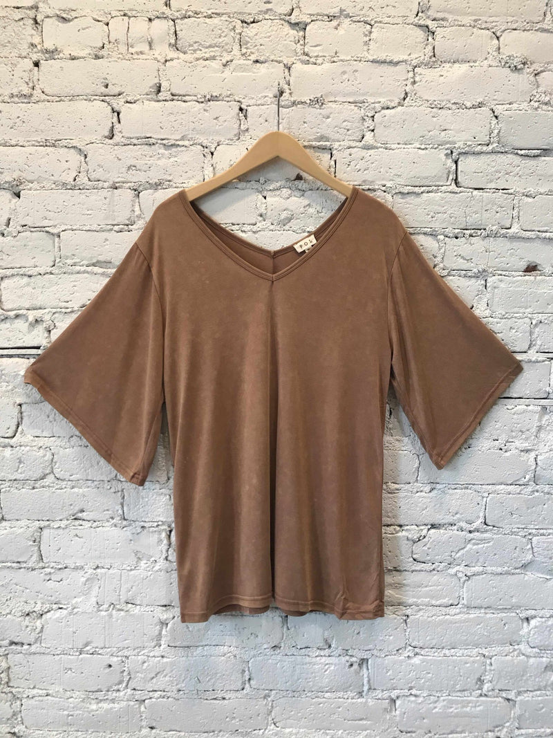 Wide-sleeve V-neck Mocha Tee-tee-Yellow Umbrella