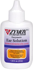 Zymox Ear Solution .5% Hydrocortisone 1.25oz - Bakersfield Pet Food Delivery