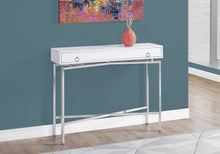 "Load image into Gallery viewer, ACCENT TABLE - 42""L / GLOSSY WHITE / CHROME HALL"