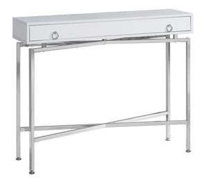 "ACCENT TABLE - 42""L / GLOSSY WHITE / CHROME HALL"