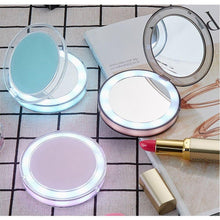 Load image into Gallery viewer, LED Lighted Vanity Makeup Mirror Foldable Compact USB Charging