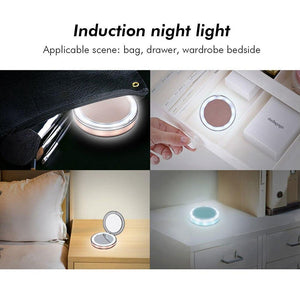 LED Lighted Vanity Makeup Mirror Foldable Compact USB Charging