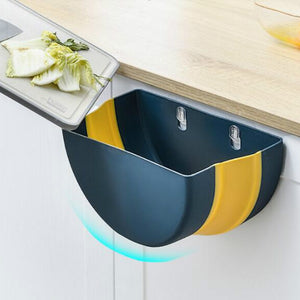 9L Folding Waste Bin Kitchen Cabinet Door Hanging Trash Can Wall