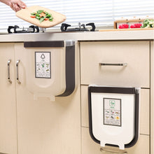 Load image into Gallery viewer, 9L Folding Waste Bin Kitchen Cabinet Door Hanging Trash Can Wall