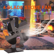 Load image into Gallery viewer, Black 4 Blades Heat Powered Stove Fan