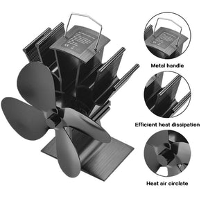 Black Fireplace 4 Blade Heat Powered Stove Fan Log Wood Burner