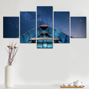 No Frame 5 Panel Blue Sky Boat With Large