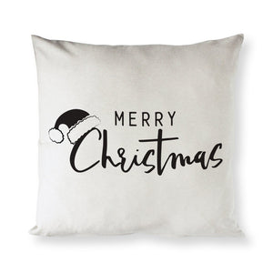 Merry Christmas Cotton Canvas Holiday Pillow Cover