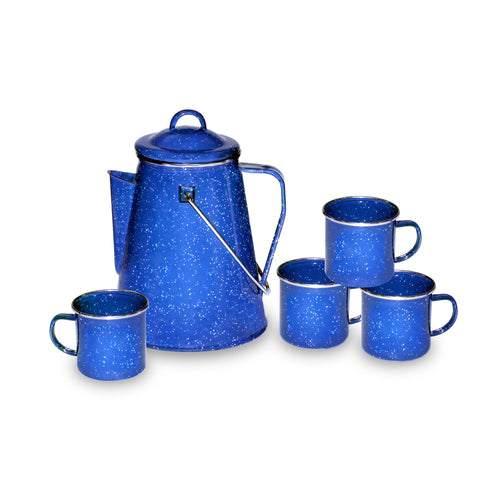 Stansport Enamel Percolator Coffee Pot and Set of 4 Mugs - Going Off Grid