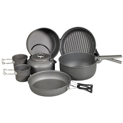 9 Piece Cookware Mess Kit with Kettle - Going Off Grid