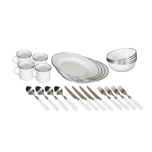 Stansport Enamel Camping Tableware Set - 24 Piece in White - Going Off Grid