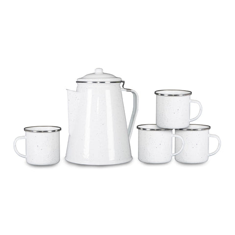 Stansport Enamel Percolator Coffee Pot & 4 Mug Set White Enamel - Going Off Grid