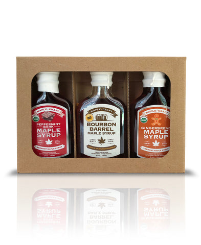 Maple Craft Syrup Gift Sampler Box  (Gingerbread, Bourbon Barrel, Peppermint Bark) - Going Off Grid