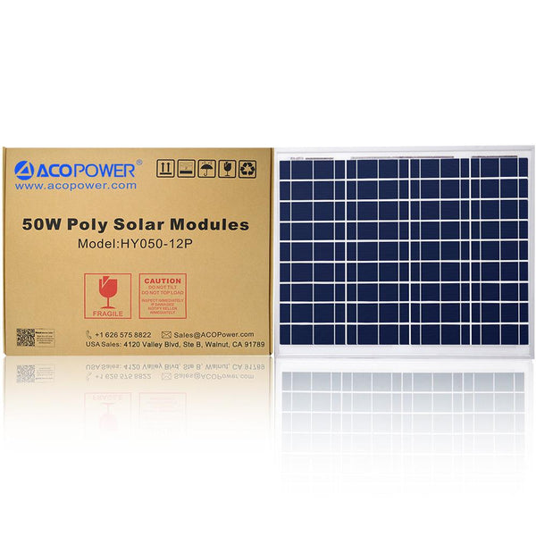 ACOPOWER 50 Watts Poly Solar Panel, 12V