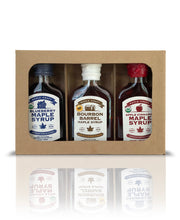 Load image into Gallery viewer, Maple Craft Syrup Gift Sampler Box  (Apple Cinnamon, Bourbon Barrel, Blueberry) - Going Off Grid