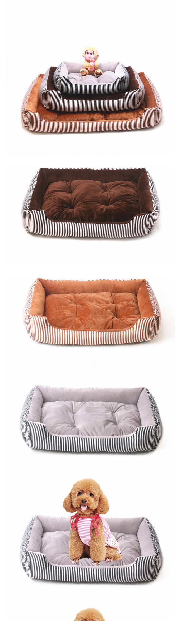 Five Size Dog Bed with Waterproof Warming Pad