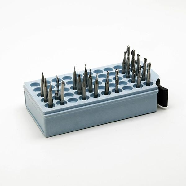 Keep the end mills for your Bantam Tools desktop CNC machine in one place with this bit box.