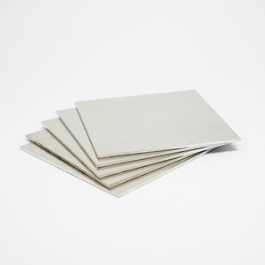 "Aluminum 6061 is available in five-unit packs of 4""x4""x.032"" for your next CNC job."