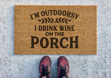 Load image into Gallery viewer, Outdoorsy wine and porch doormat
