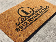 Load image into Gallery viewer, Personalized family address doormat, custom door initial doormat gift