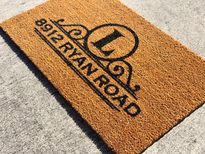 Personalized family address doormat, custom door initial doormat gift