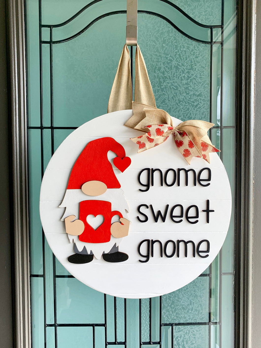 Valentine's Day 3D wood round door hanger