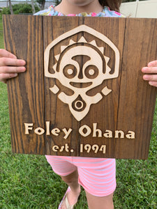 Polynesian resort custom personalized family name wood plank sign