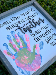 Custom family togetherness handprint 3D wood sign